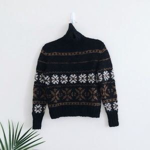 Peruvian Connection 100% Wool Fair Isle Turtleneck